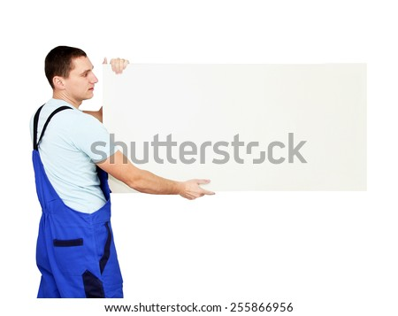 Worker holding empty banner - stock photo