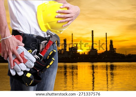 worker holding tool use for labor day  - stock photo