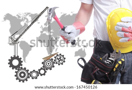 worker  holding tool with concept constructure buiding. - stock photo