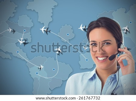 Worker in a call center for airlines - stock photo