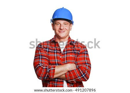 Worker in blue helmet.