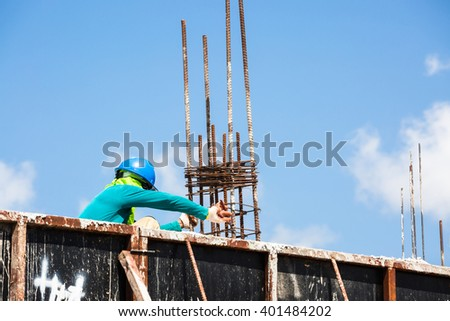 Worker in building site - stock photo