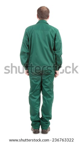 Worker in green wear back view. Isolated on a white background. - stock photo