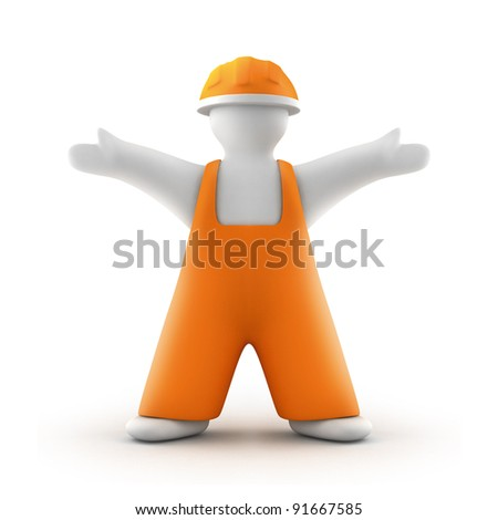 Worker in Orange Overall 3D Illustration - stock photo