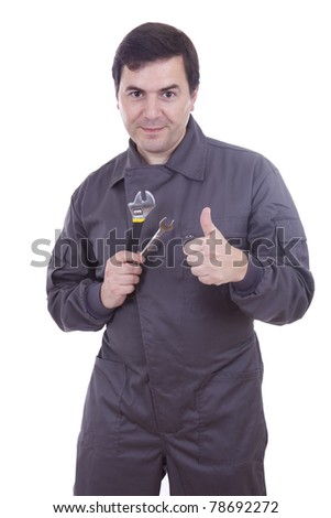 worker in uniform with tools - stock photo