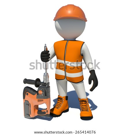 Worker in vest, shoes and helmet holding electric perforator. Isolated render on white background