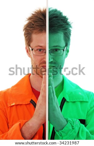 Worker is divided in two colored parts - stock photo