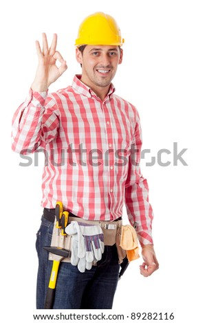 Worker. Isolated over white - stock photo
