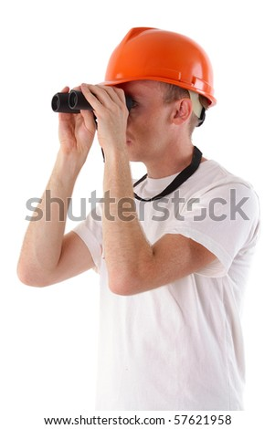 worker looking through binoculars - stock photo
