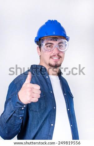 worker making gesture OK - stock photo