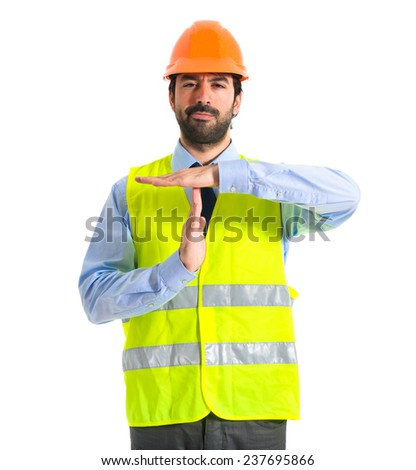 worker making time out gesture   - stock photo
