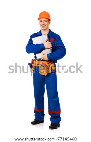 Worker man with laptop in work wear against white - stock photo