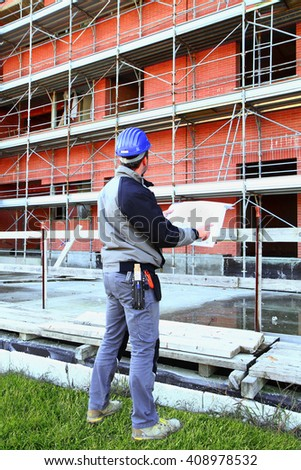 worker on construction - stock photo