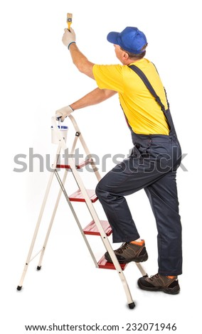 Worker on staircase . Isolated on a white background.  - stock photo