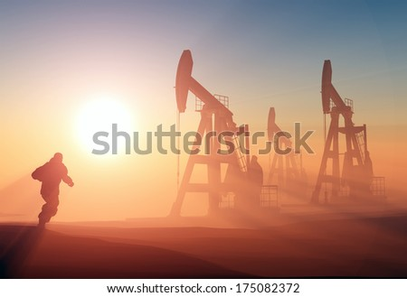 Worker produce oil. - stock photo
