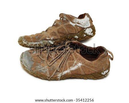 worker's shoes - stock photo