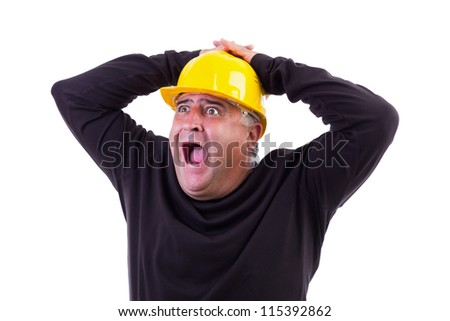 Worker screaming with hands on his  head, isolated on white