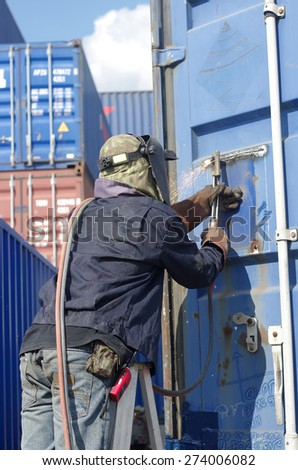 worker service repair container box - stock photo