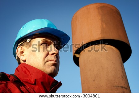 worker special photo f/x, focus point on right eye of man - stock photo
