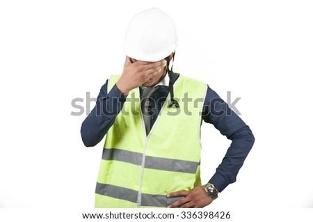 Worker thinking on white background isolated - stock photo