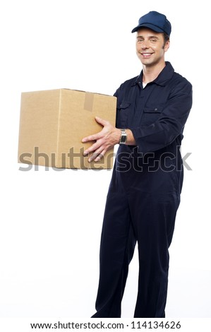 Worker unloading and loading carton isolated against white - stock photo