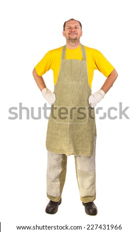 Worker wearing apron. Isolated on a white background.