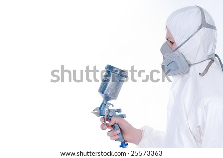 Worker with airbrush gun, copy-space for your text or image - stock photo