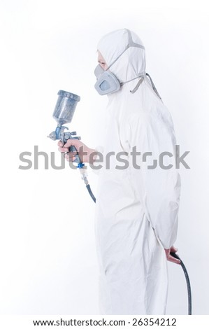 Worker with airbrush gun over white background - stock photo