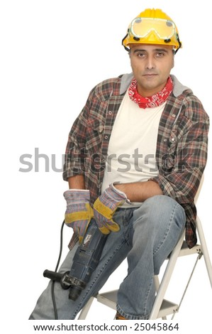 worker with drill isolated in white - stock photo