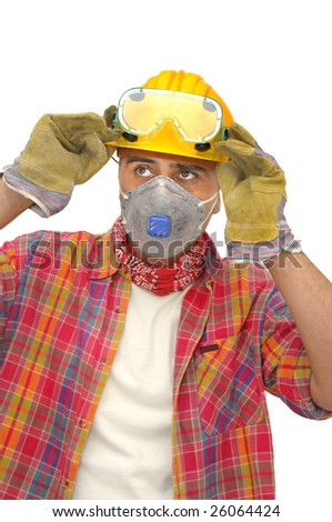 worker with glasses and mask isolated in white - stock photo