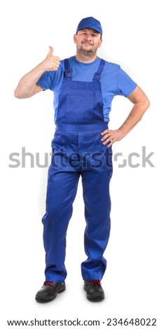 Worker with hands ok sign. Isolated on a white background. - stock photo