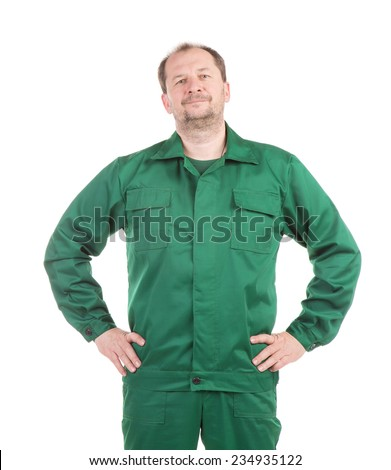 Worker with hands on waist. Isolated on a white background. - stock photo