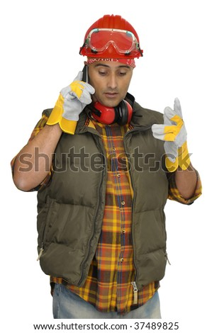 Worker with hat and phone isolated in white - stock photo