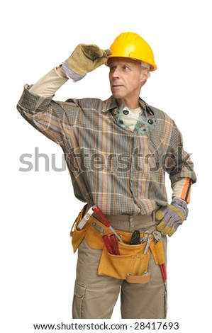 worker with hat isolated in white