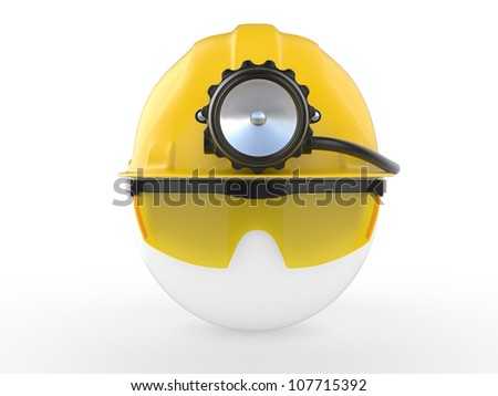 Worker with helmet and head lamp. 3D illustration - stock photo