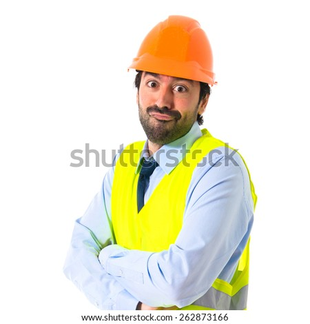 Worker with his arms crossed