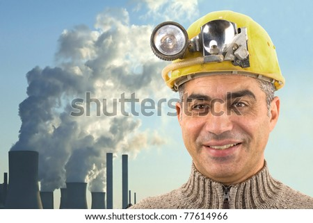 worker with power station
