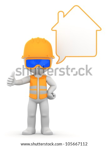 Worker with speech bubble. Isolated - stock photo