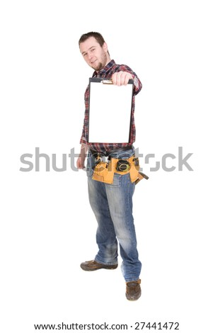 worker with tools. over white background
