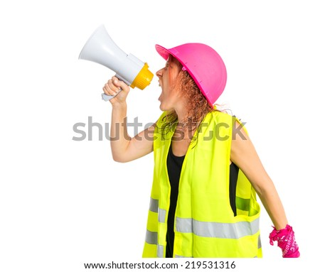 Worker woman shouting over isolated white background - stock photo