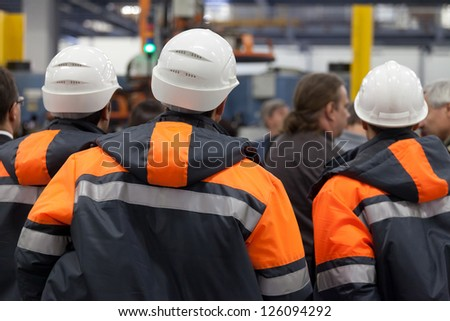 Workers at a meeting. - stock photo