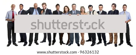 Workers big team with large card isolated in white - stock photo