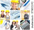 Workers, contractors, pencil and calculator over a construction drawing - stock photo