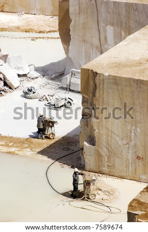 Workers in a marble extraction site, Alentejo, Portugal - stock photo