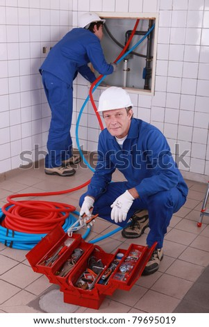 workers in house - stock photo