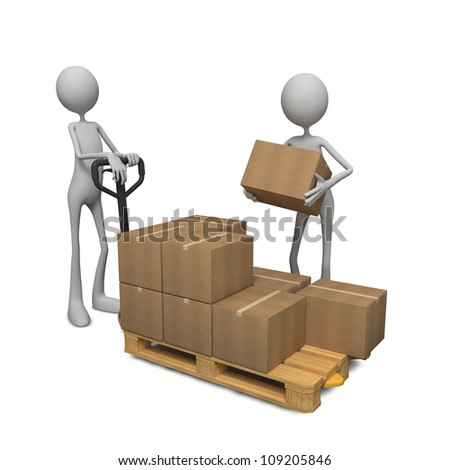 Workers Loading the Goods on Pallet Truck. - stock photo