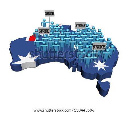 workers on strike on Australia map flag illustration - stock photo