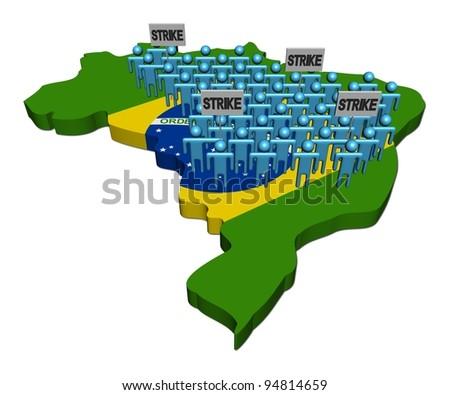 workers on strike on Brazil map flag illustration - stock photo