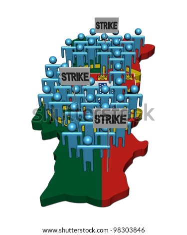 workers on strike on Portugal map flag illustration - stock photo