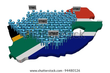 workers on strike on South Africa map flag illustration - stock photo